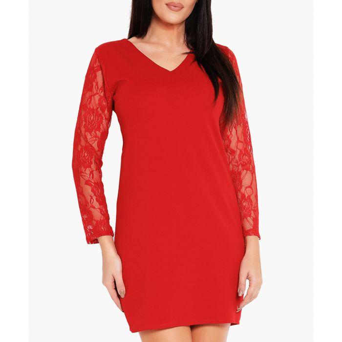 Image for Red V-neck mini dress