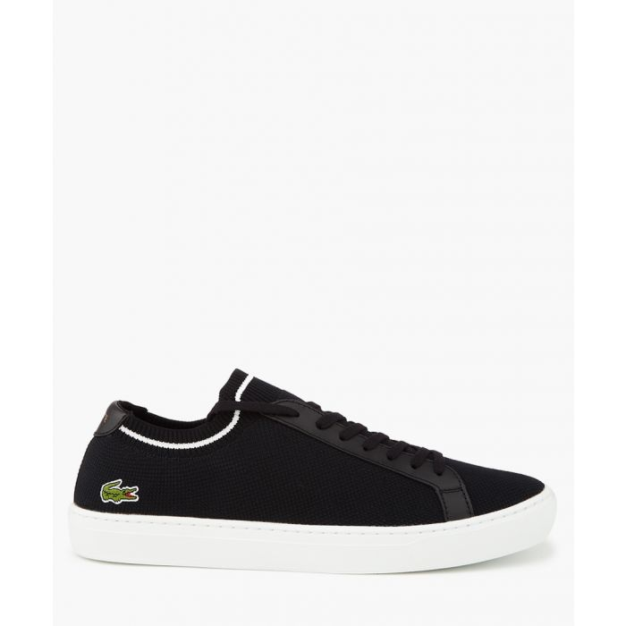 Image for Black leather logo sneakers