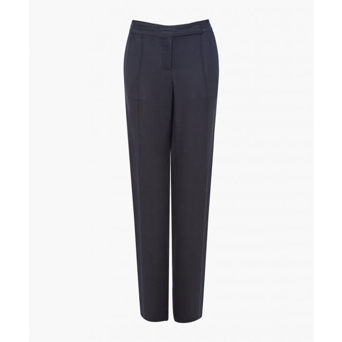 Image for Black relaxed slim-fit trousers