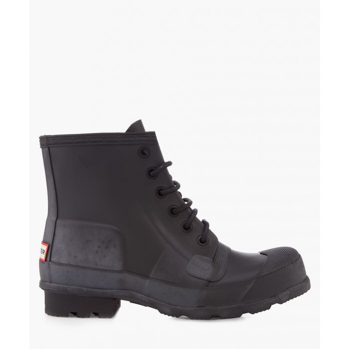 Image for Black rubber lace-up boots