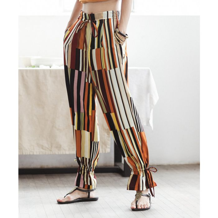 Image for Multi-colour stripe ankle tie trousers