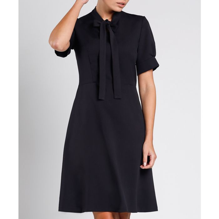 Image for Black pussybow a-line dress