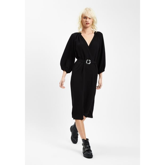 Image for Belt Up Midi V-Neck Dress in Black