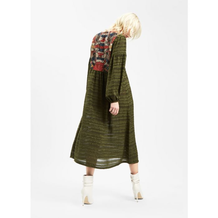 Image for Betty Boho Patchwork Midi Dress in Green