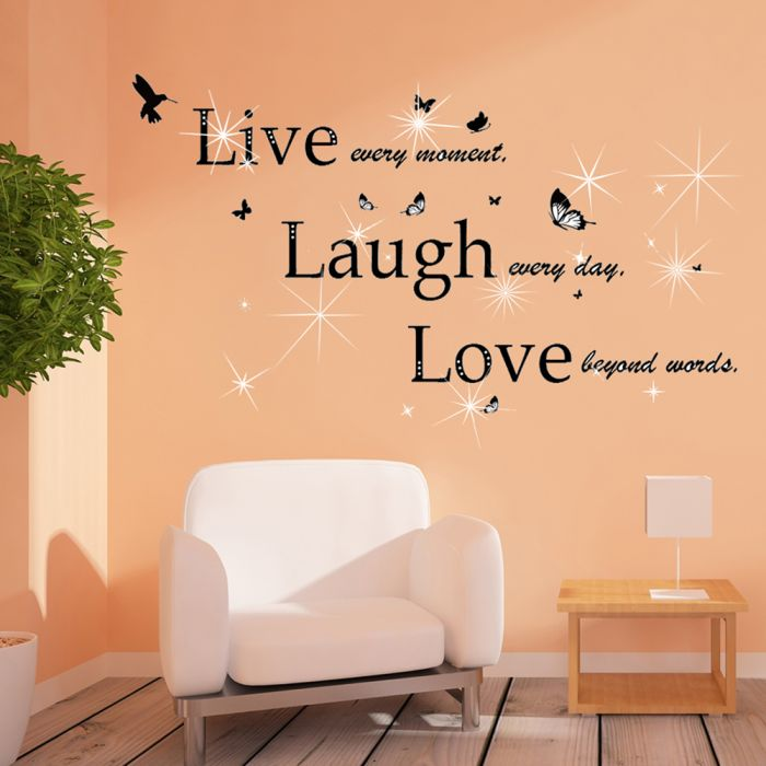 Image for Wall Sticker Decal Classic Live Laugh Love Quote with Swarovski Crystals
