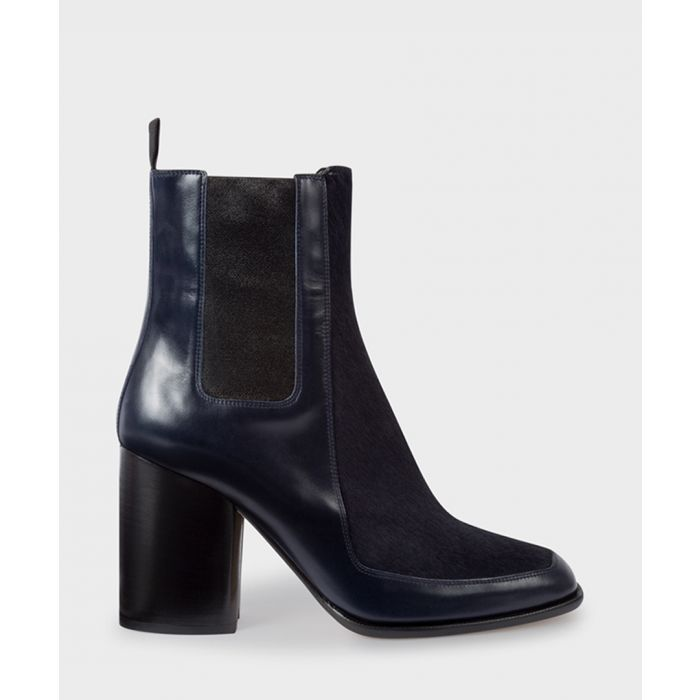Image for Navy leather block heel boots