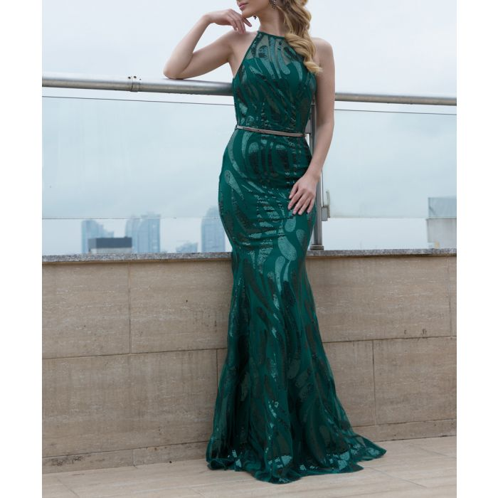 Image for Teal green fluted maxi dress