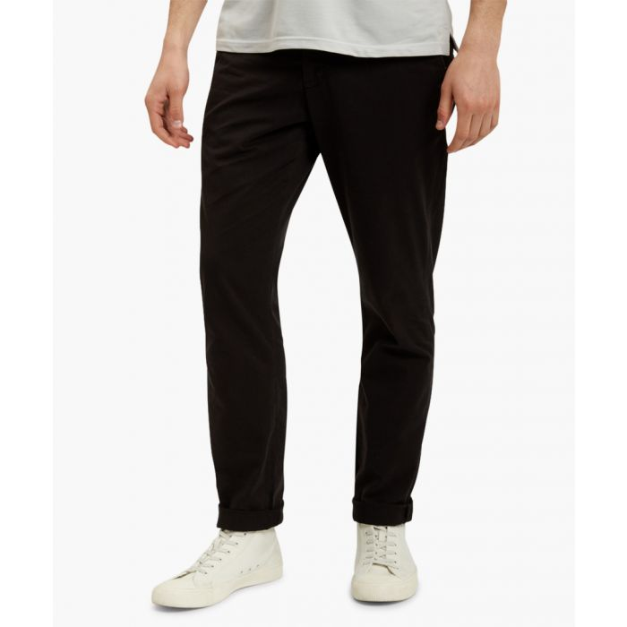 Image for Black cotton blend chinos