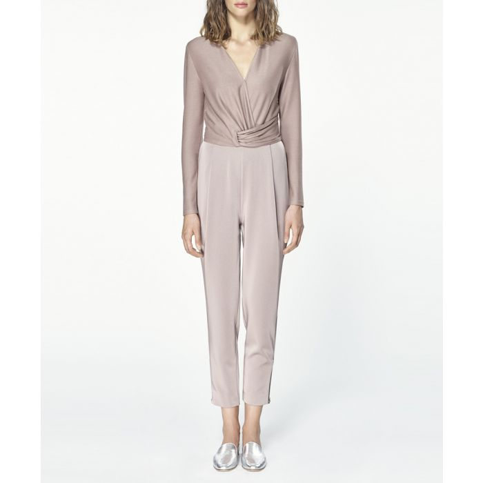 Image for Taupe wrap front jumpsuit