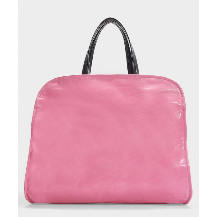 Image for Neon fuchsia leather shopper