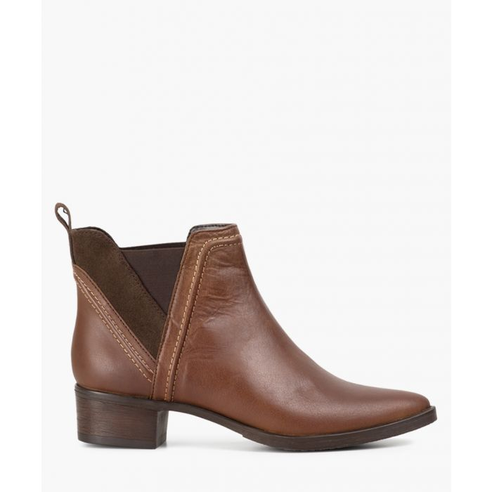 Image for Brown leather heeled ankle boots