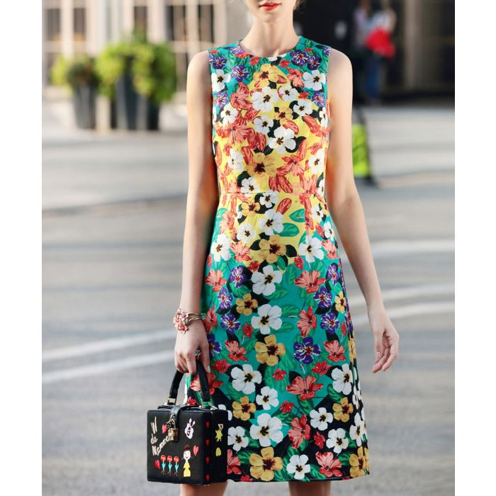 Image for Yellow & teal cotton blend print dress
