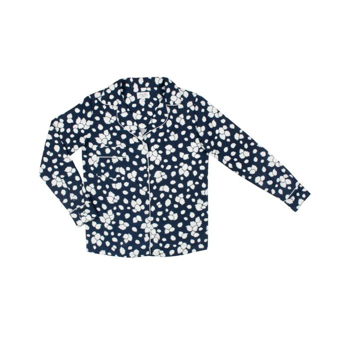 Image for Navy blue pure cotton leafy pyjama shirt