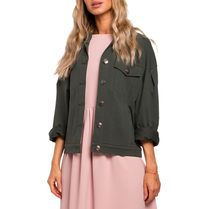 Image for Military green cotton blend jacket