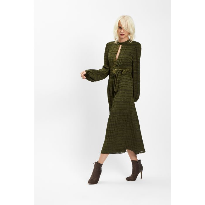 Image for Peephole Pleated Maxi Dress in Green