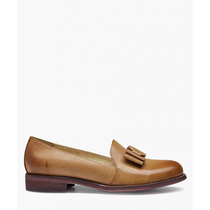 Image for Brown lambskin bow detail loafers
