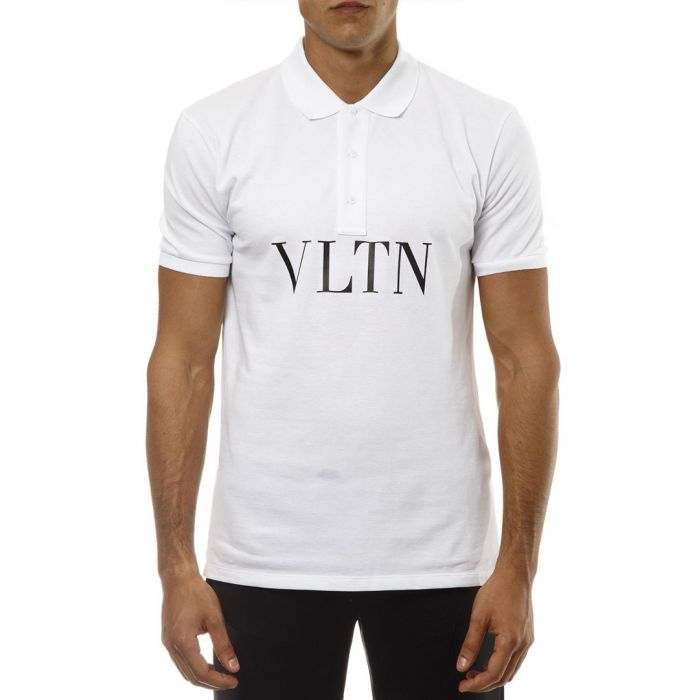 Image for VLTN white pure cotton polo shirt