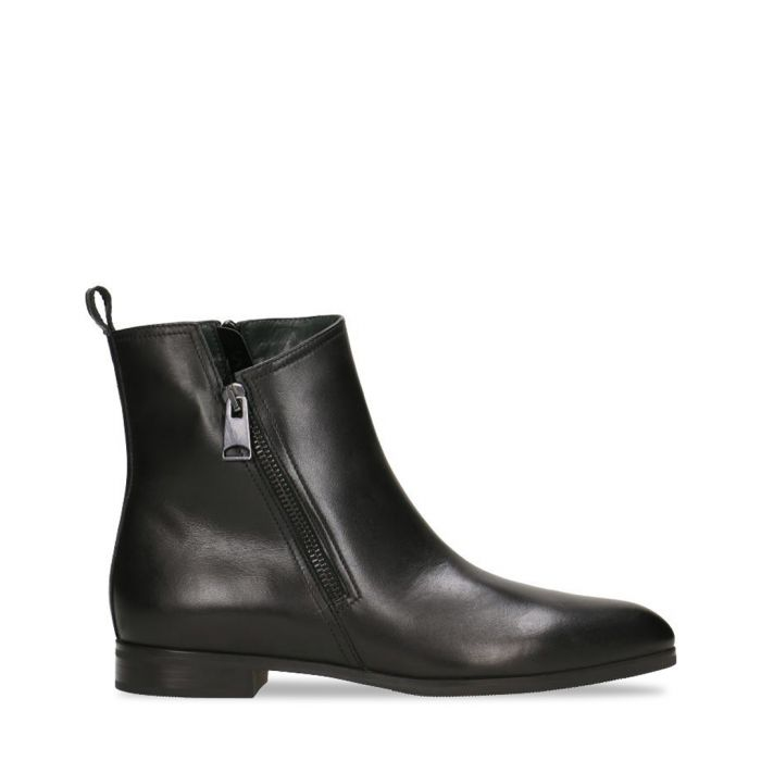 Image for Black leather zip-up ankle boots
