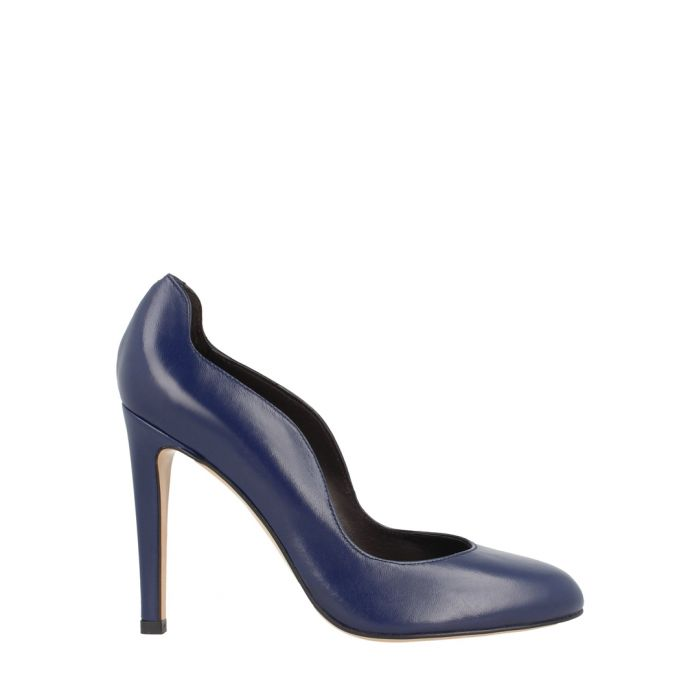 Image for Navy leather wavy cut heels
