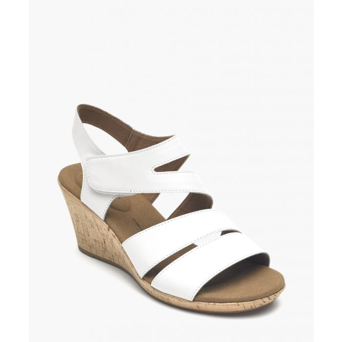 Image for Briah white & tan leather sandals