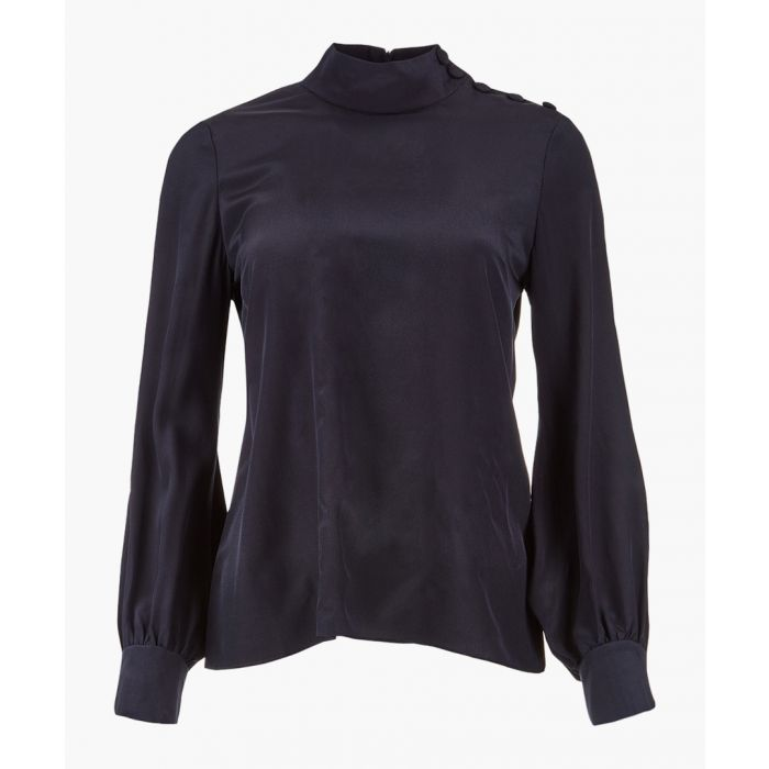 Image for Georgie navy pure silk high neck blouse