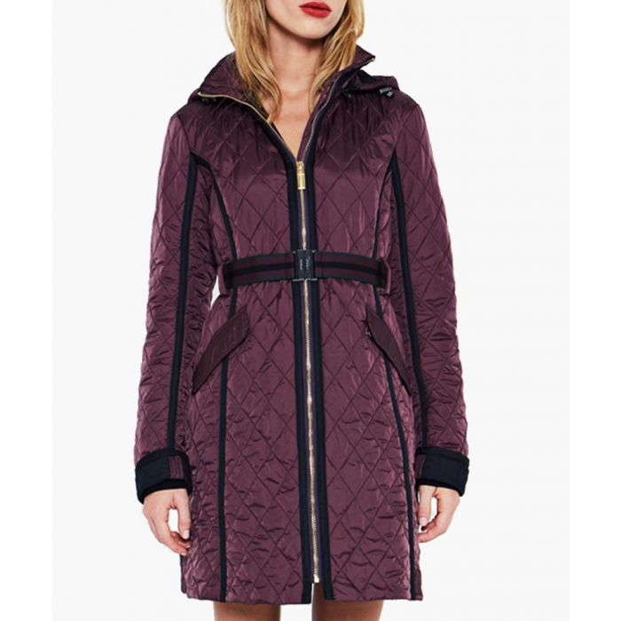Image for Burgundy nylon quilted trench coat