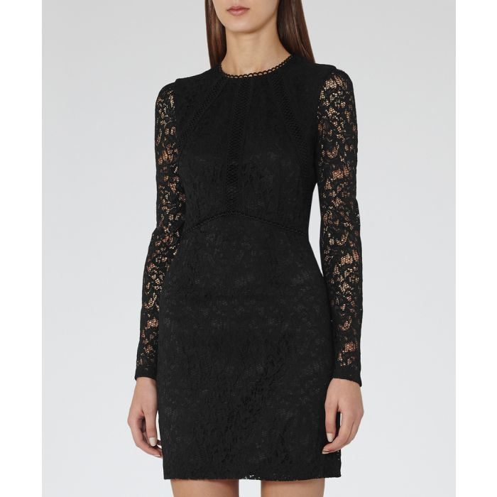 Image for Black lace sleeve bodycon dress