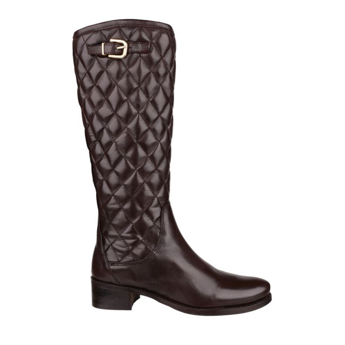 Image for Brown leather quilted boots