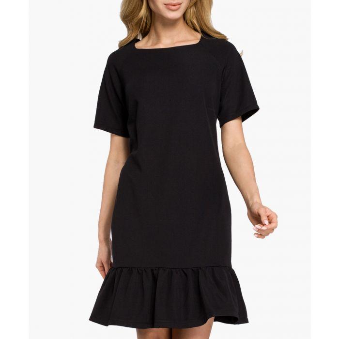Image for Black short sleeve ruffle hem dress