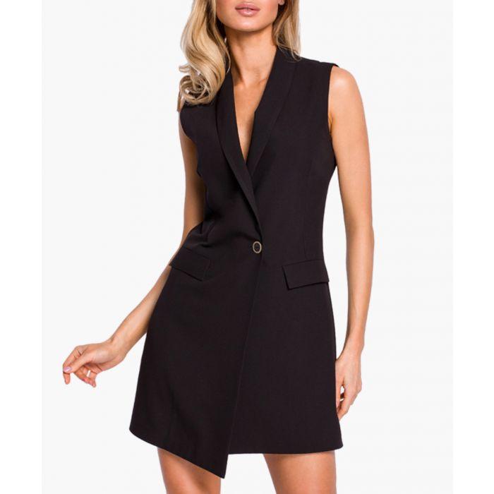 Image for Black sleeveless tuxedo dress