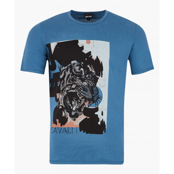 Image for Blue cotton tiger print T-shirt