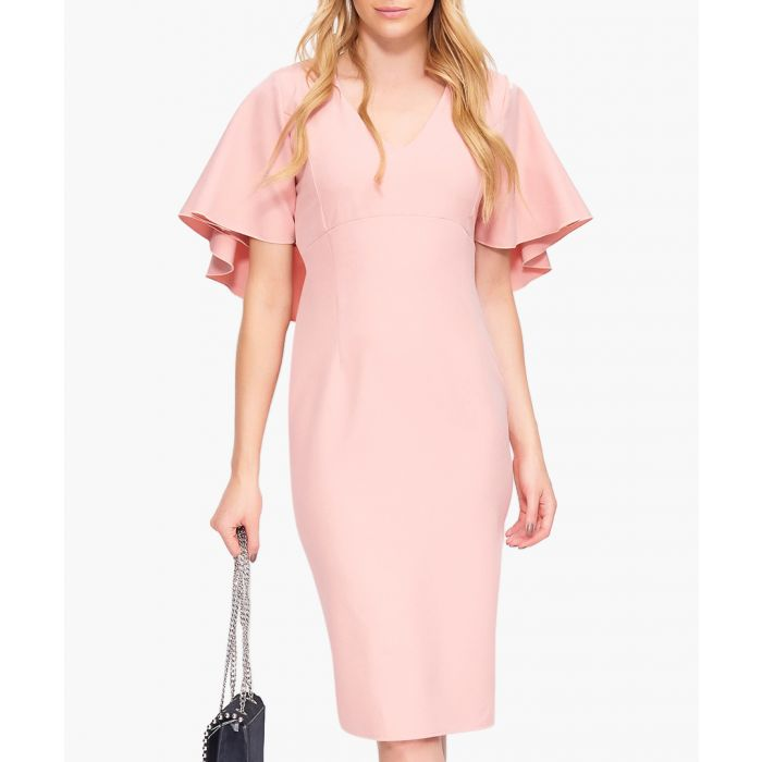 Image for Pink ruffle sleeve V-neck dress