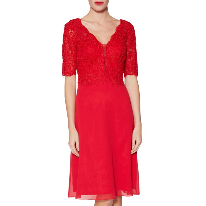 Image for Fantasia red lace bodice dress