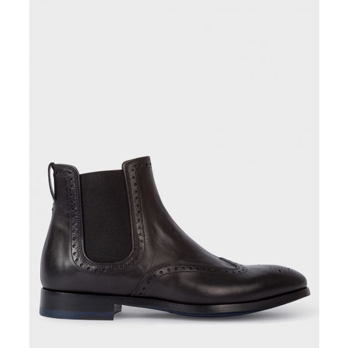 Image for Black leather perforated boots