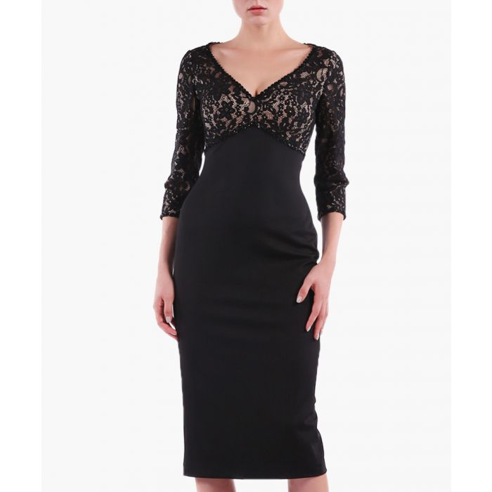 Image for black lace detail V-neck dress