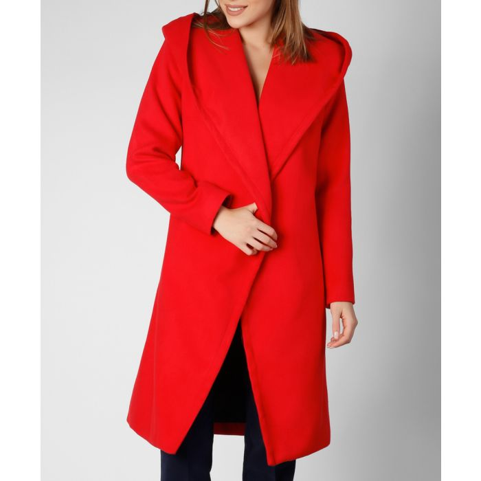Image for Red wool-cashmere blend hooded coat