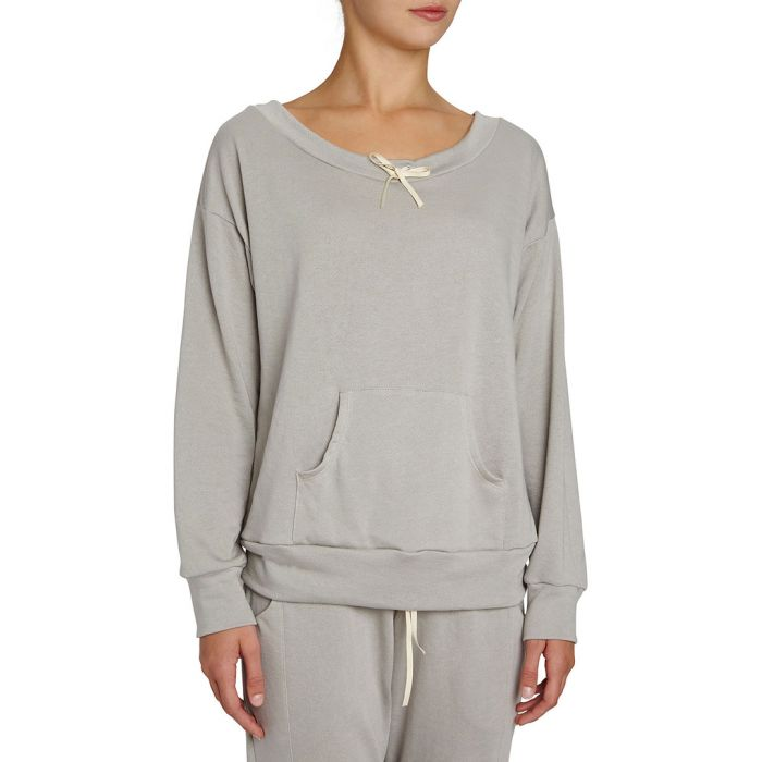 Image for Walker warm grey supima cotton-blend  long sleeve top