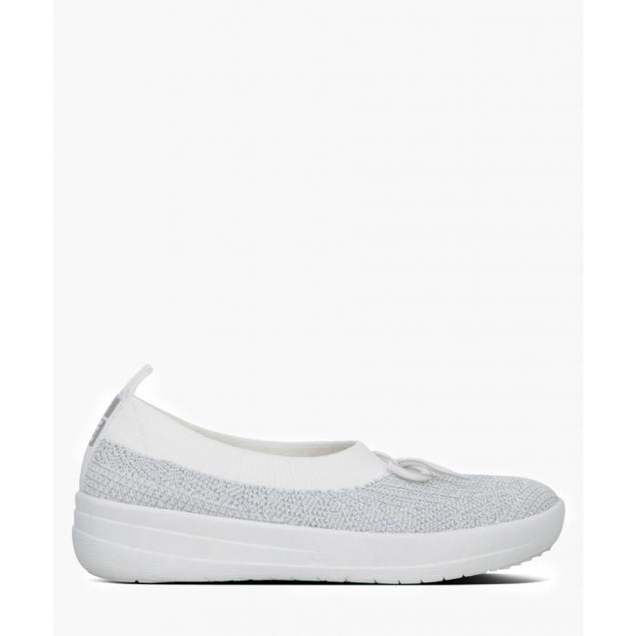 Image for Uberknit white metallic woven slip-ons