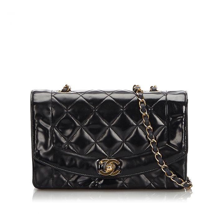 Image for Vintage Chanel Patent Leather Diana Flap Shoulder Bag Black