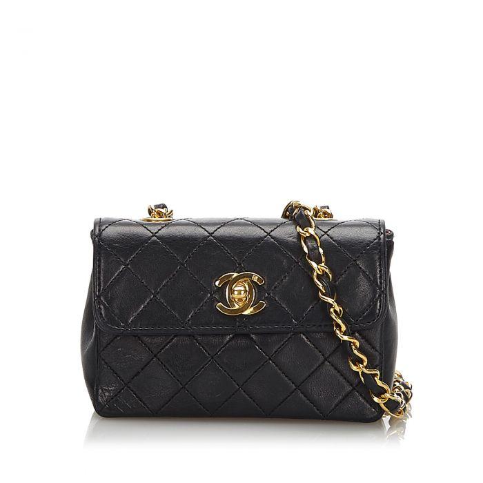 Image for Vintage Chanel Mini Lambskin Flap Bag Black