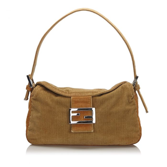 Image for Vintage Fendi Corduroy Shoulder Bag Brown
