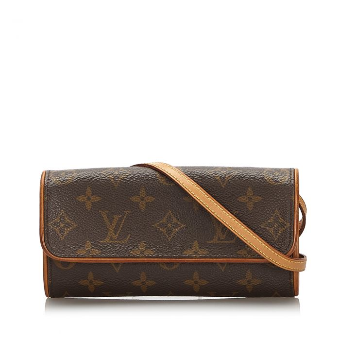 Image for Vintage Louis Vuitton Monogram Pochette Twin PM Brown