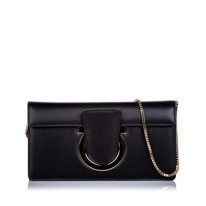 Image for Vintage Ferragamo Thalia Leather Baguette Black
