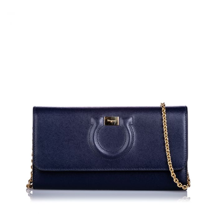 Image for Vintage Ferragamo Leather City Wallet On Chain Blue