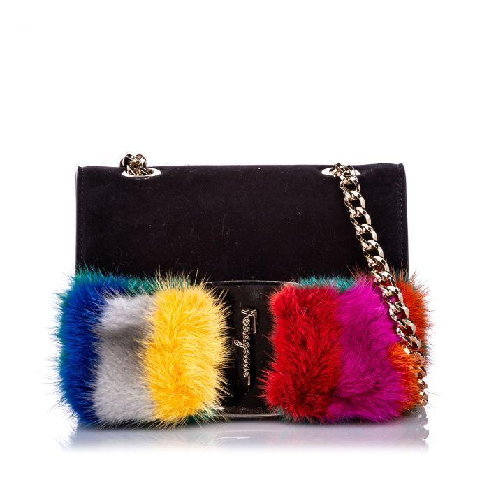 Image for Vintage Ferragamo Mini Crossbody Vara Bow Fur Bag Black