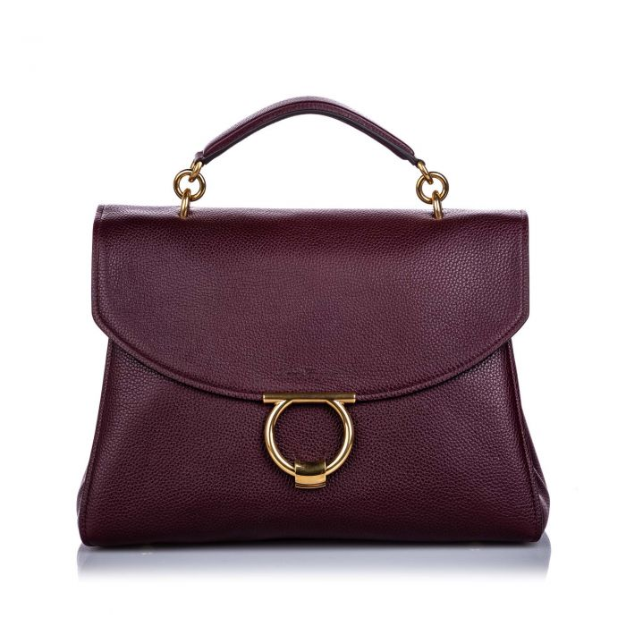 Image for Vintage Ferragamo Calfskin Margot Satchel Red