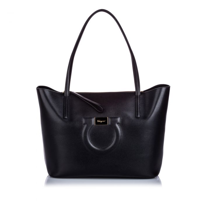 Image for Vintage Ferragamo City Leather Tote Bag Black