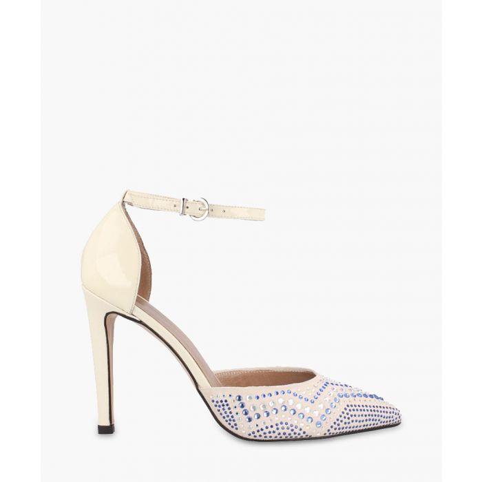 Image for Chalk leather zigzag stap heels