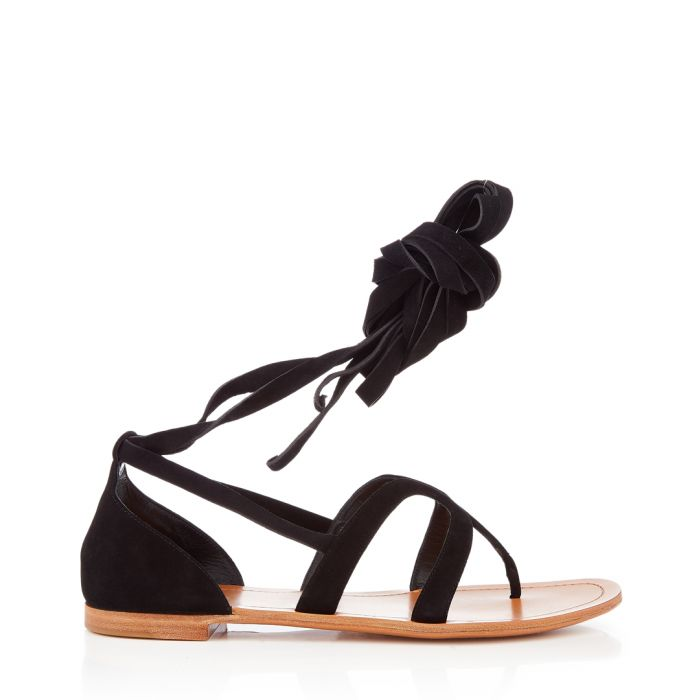 Image for Black suede tie-up sandals