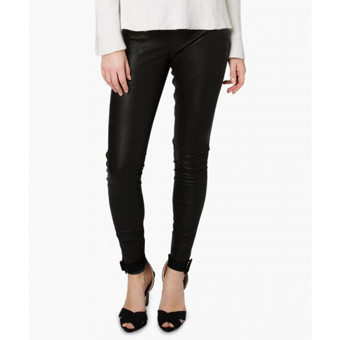 Image for Cowley black leather stretch leggings